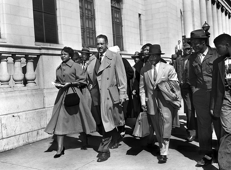 Autherine Lucy (left) with Thurgood Marshall (center) and Birmingham attorney Arthur Shores. After the Montgomery bus boycotts and Lucy being the first African American admitted to the University of Alabama,  the Alabama Attorney General attempted to oust the NAACP from the state in part because it allegedly did not comply with state law for out of state corporations.