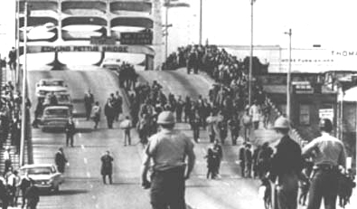 This photograph shows marchers turning back in the  second unsuccessful march on March 9, 1965.