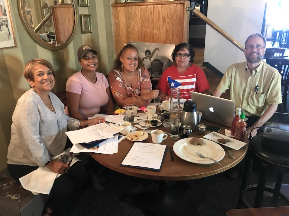 PWB consultant Rafaela Colon with Board Members Joanne Esquilin, Linda Morales-Bryant, LuzSelenia Salas, and Bill Jordan.