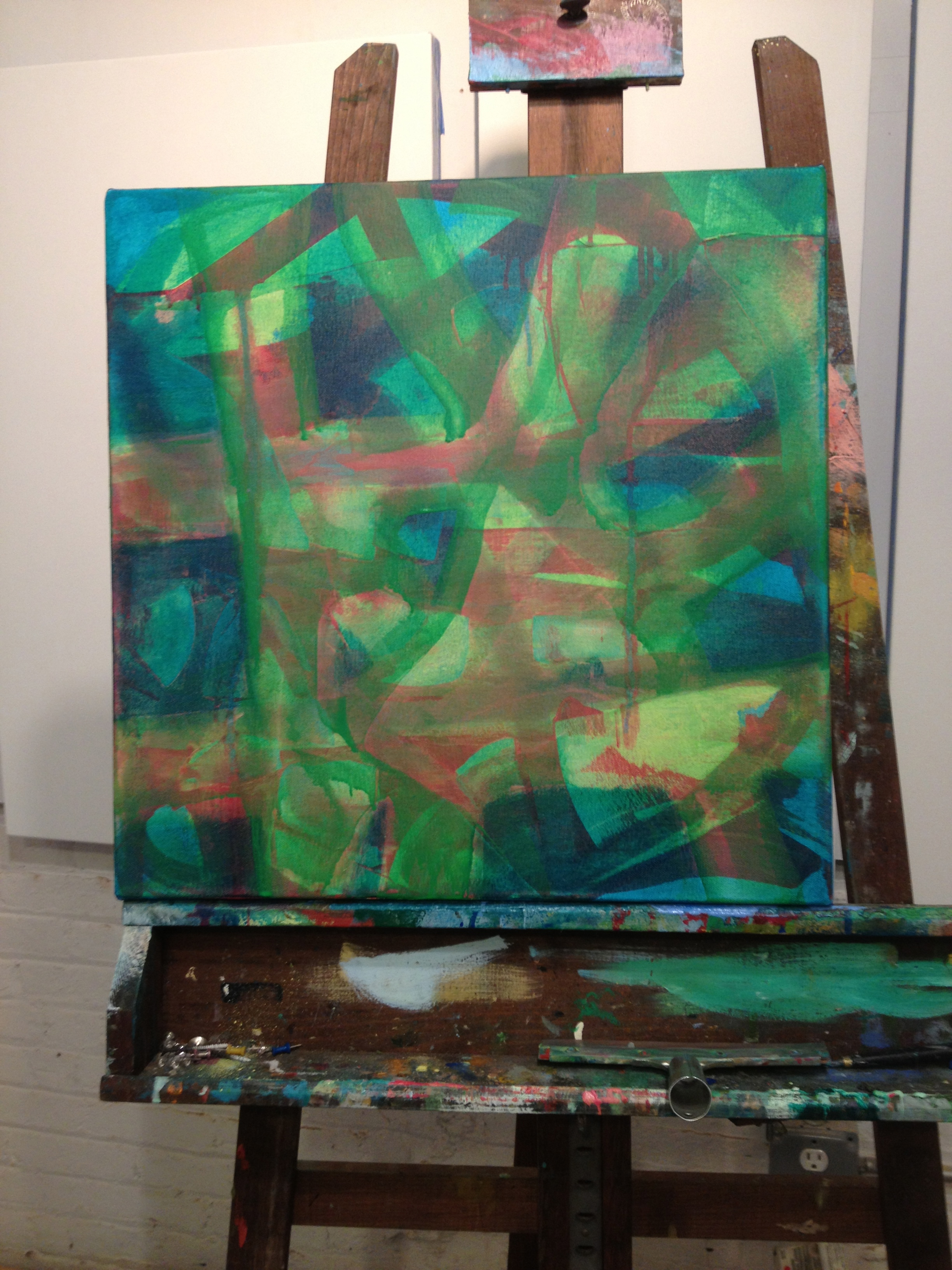 Still working some acrylic layers. They dry faster so I can build up a surface of color before using oil.