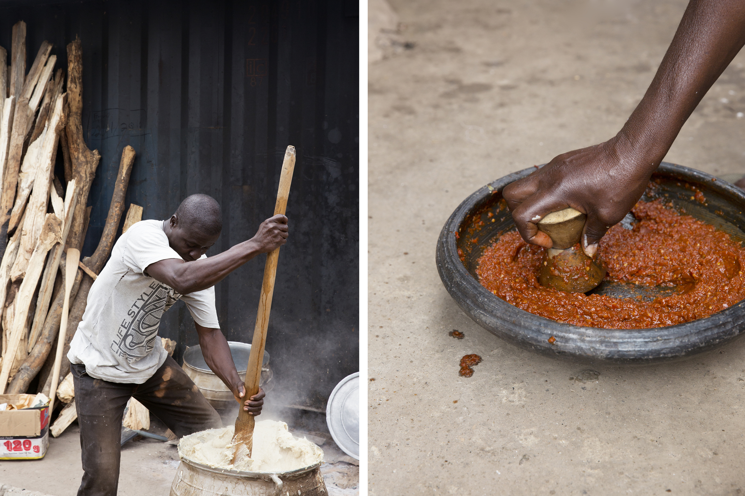 Photographs of the cooks preparing food (by me).