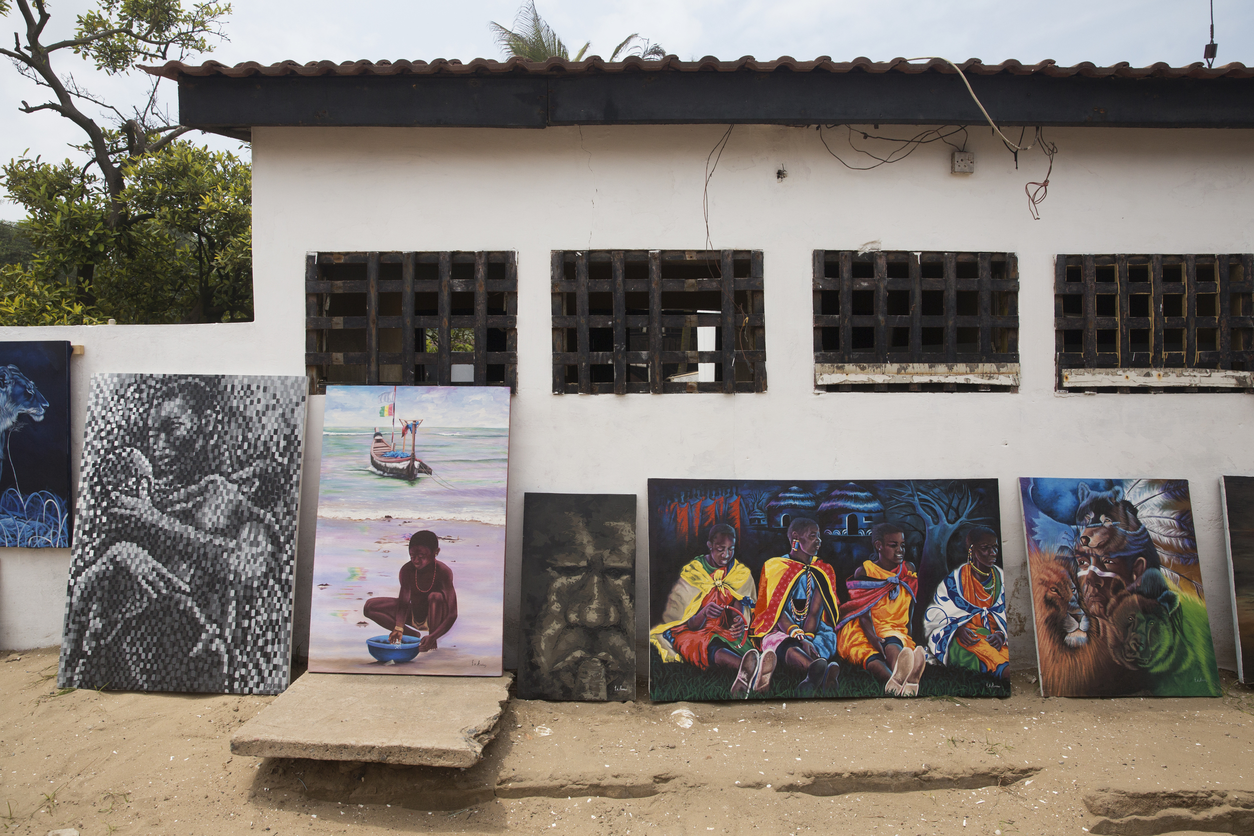 Paintings sold toward the front of Labadi Beach.