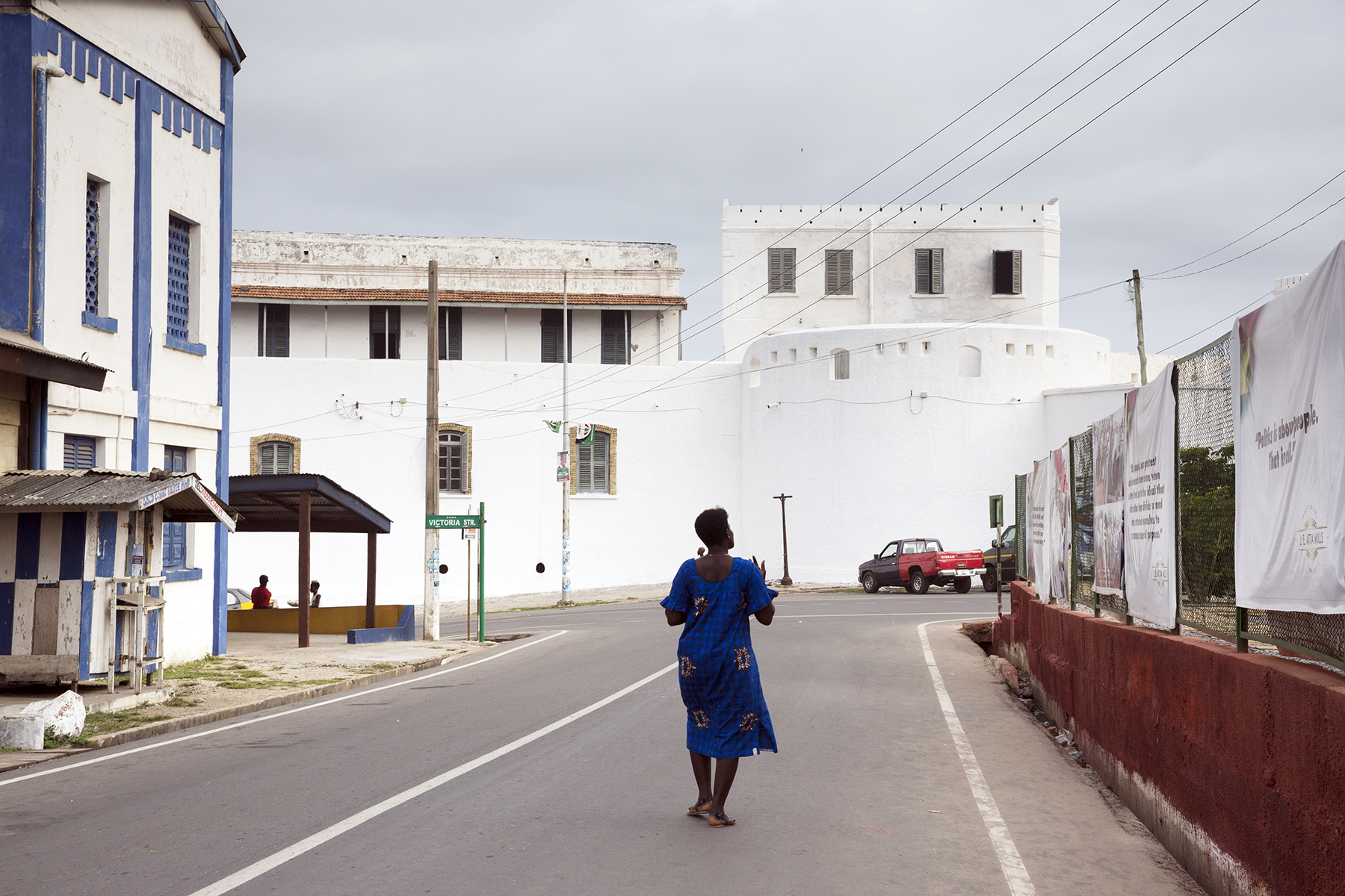 Walking towards Cape Coast Castle, on the way to Oasis.