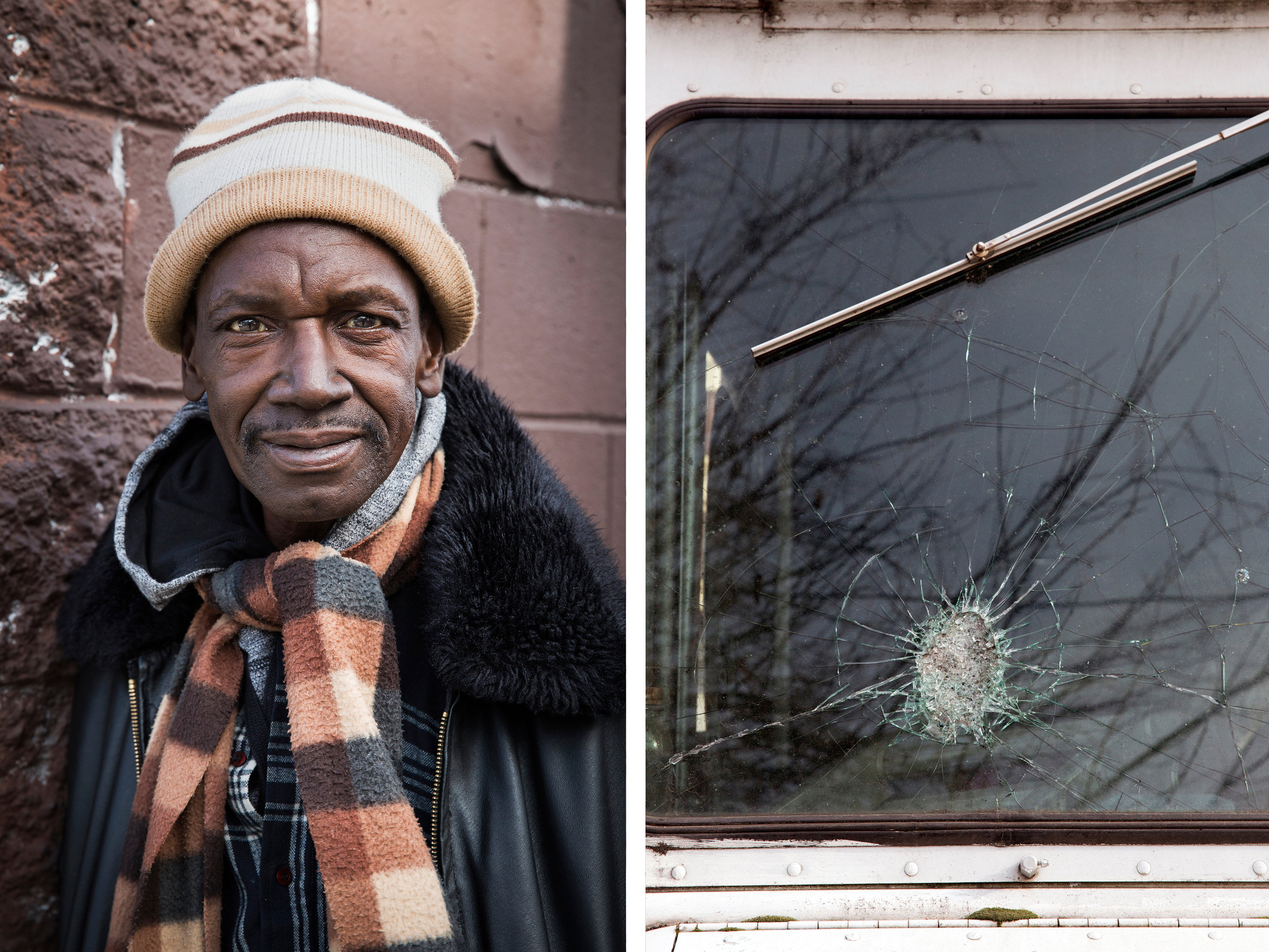 """(Left) Dennis, 62, at 52nd & Market. Dennis contributes by """"helping people."""" He says """"I give out a lot of used clothes."""""""