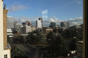 The view from Forge Portland's office at 1410 S.W. Morrison St.
