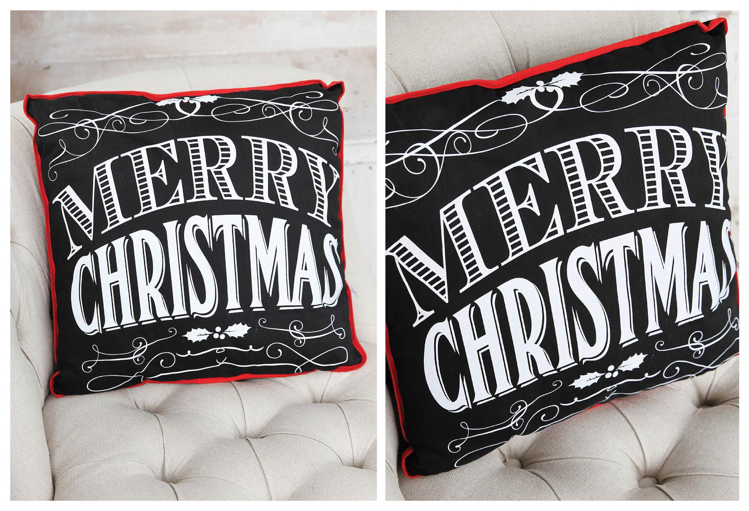 Black & White Merry Christmas Pillow