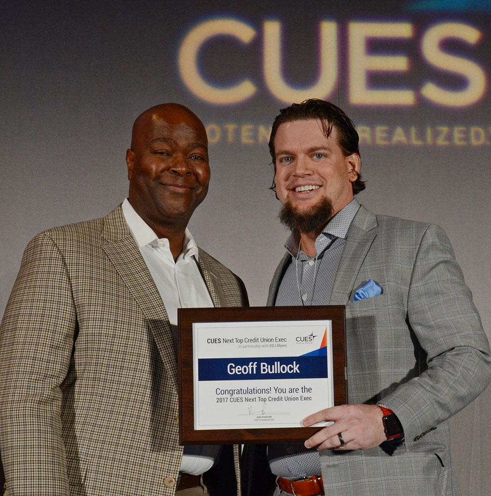 2017 Winner Geoff Bullock pictured with CUES President & CEO John Pembroke