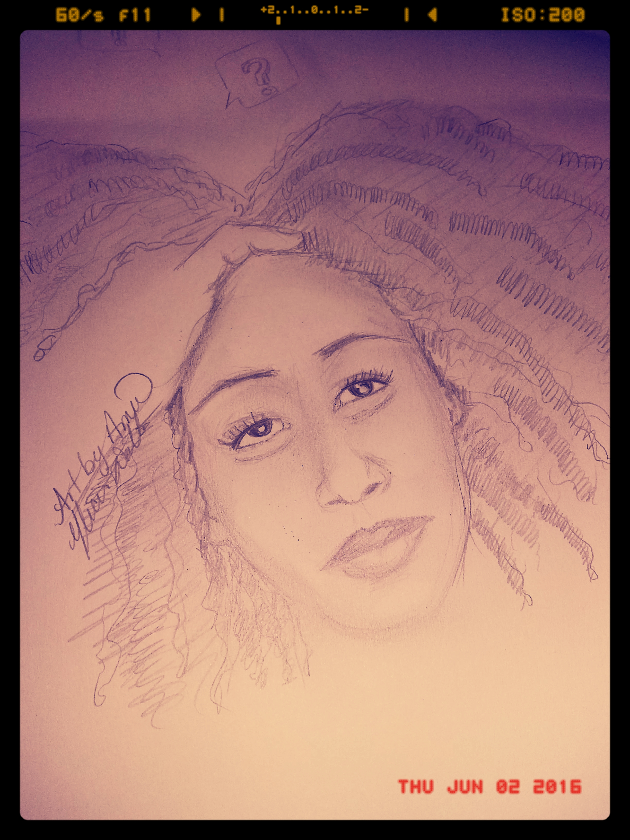Quick sketch. Wild hair and in my thoughts. A creative mind is a terrible thing to waste lol.