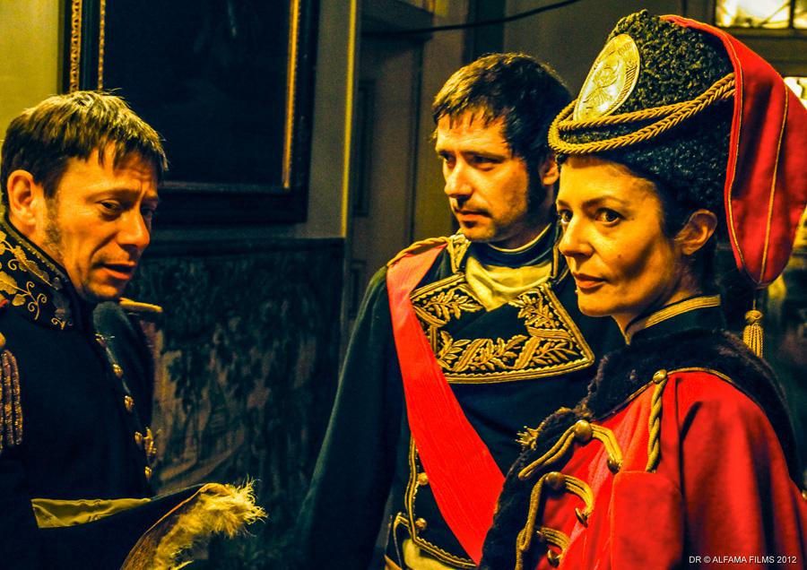 Mathieu Amalric (General Baron de Marbot) Melvil Poupaud (Marshal Masséna) Chiara Mastroianni (Hussar).jpg