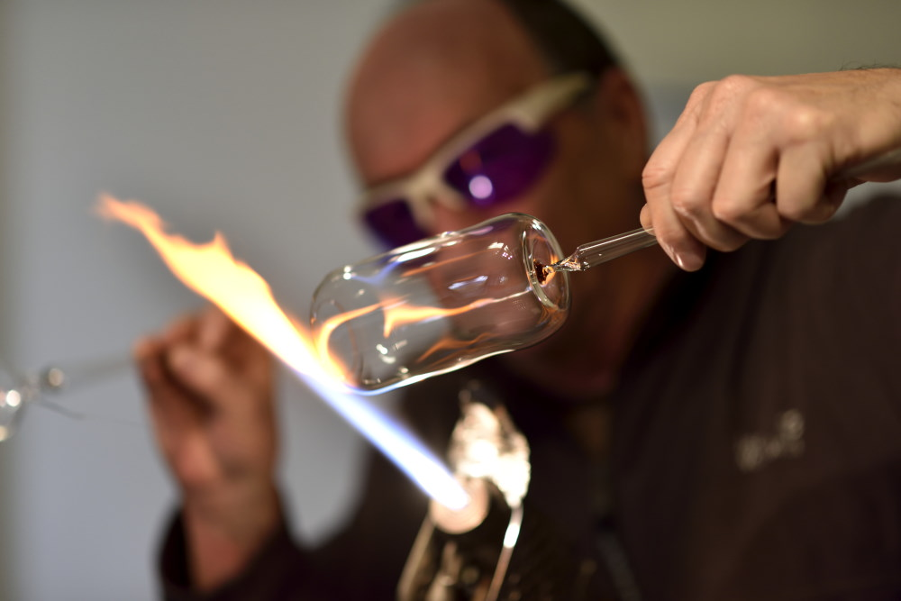 Michael Schwarzmüller in action. Each glass is made by hand and will be slightly different. The rims, for example, are not perfect as they are cut by hand rather than by machine