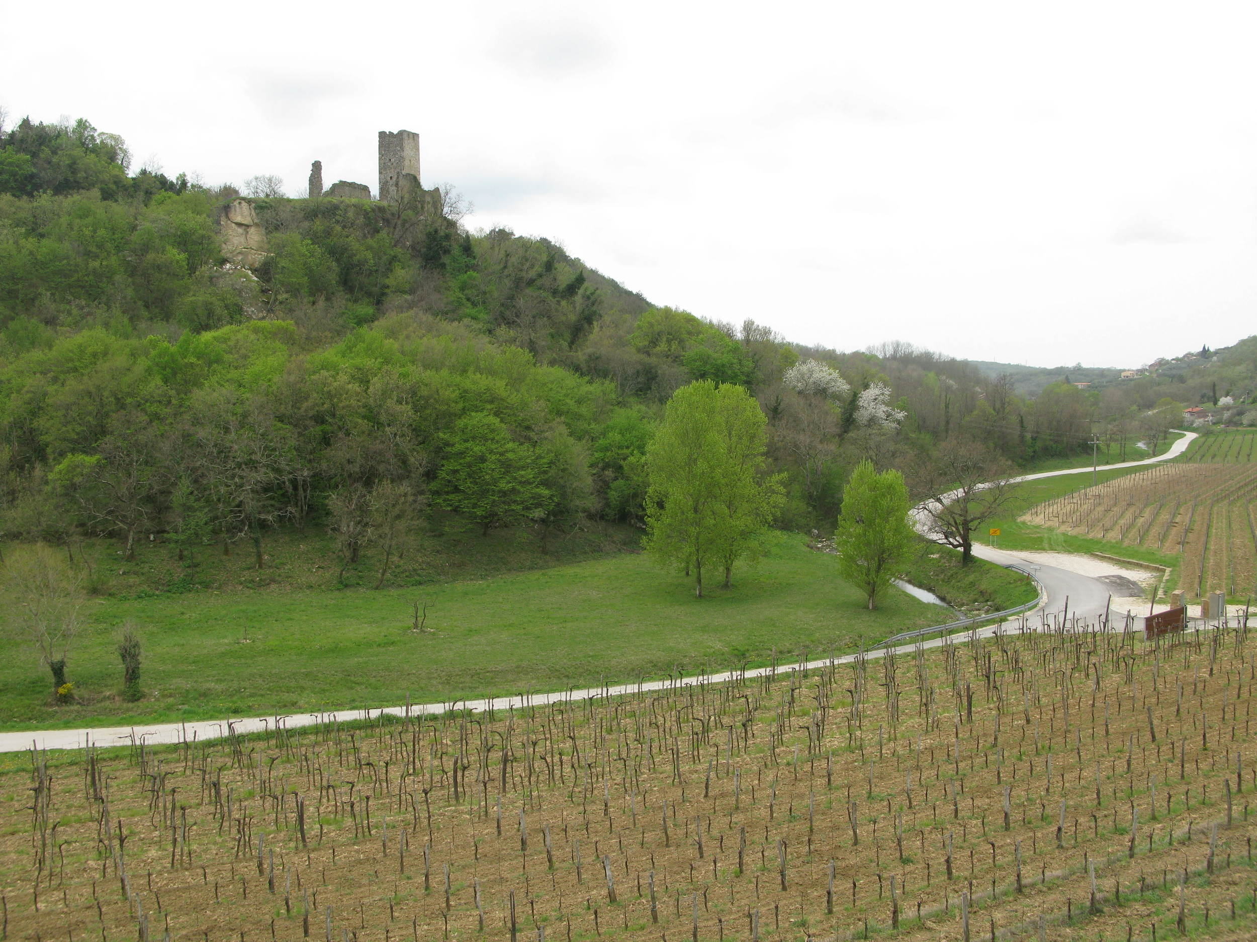 Momjan's medieval castle looks down on the wine road