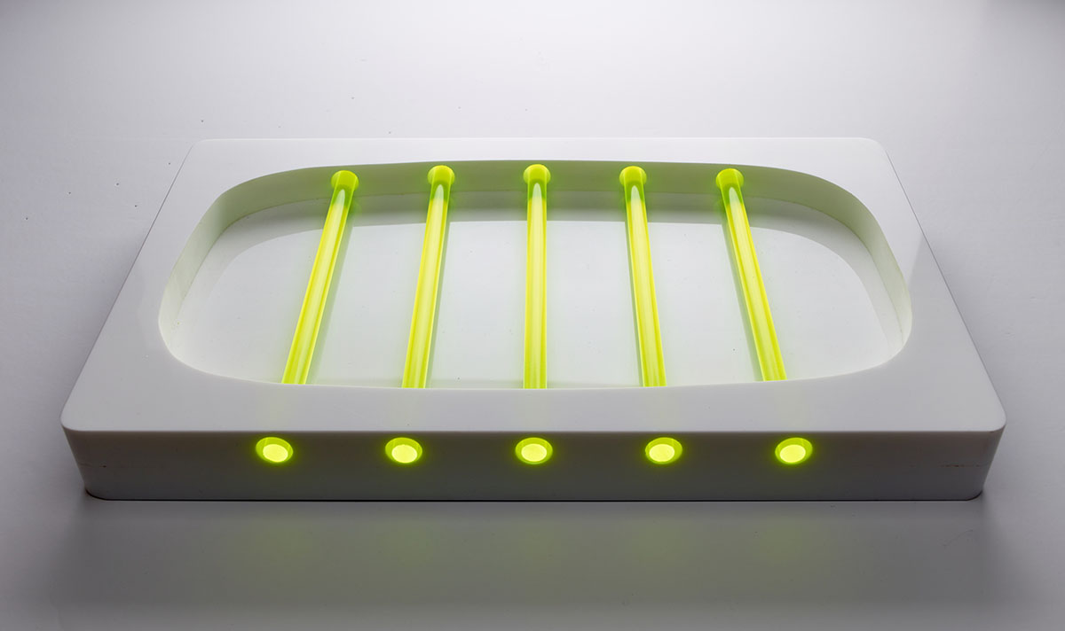 Glow 37x22x4cm Perspex and Fluorescent Rods, Table top