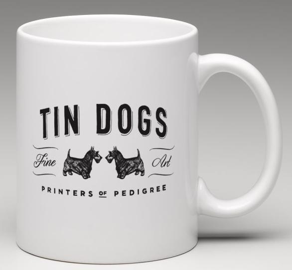 tin dogs mug