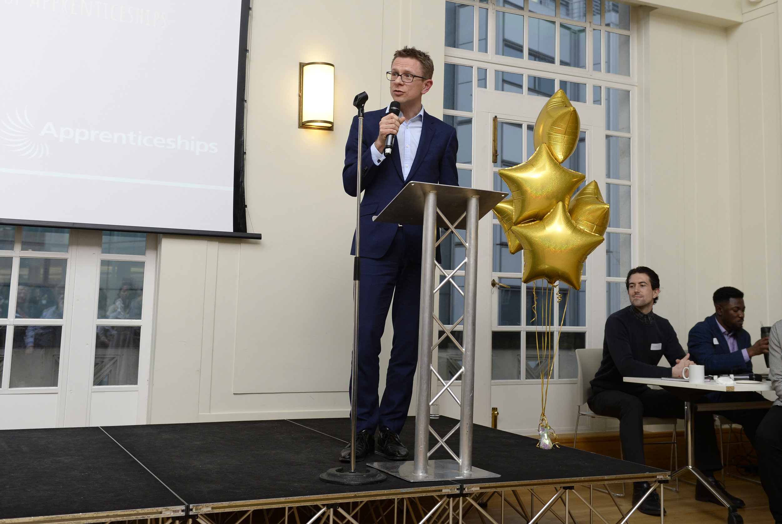 Anthony impey MBE, Founder of optimity presenting at the Hackney apprenticeship network launch