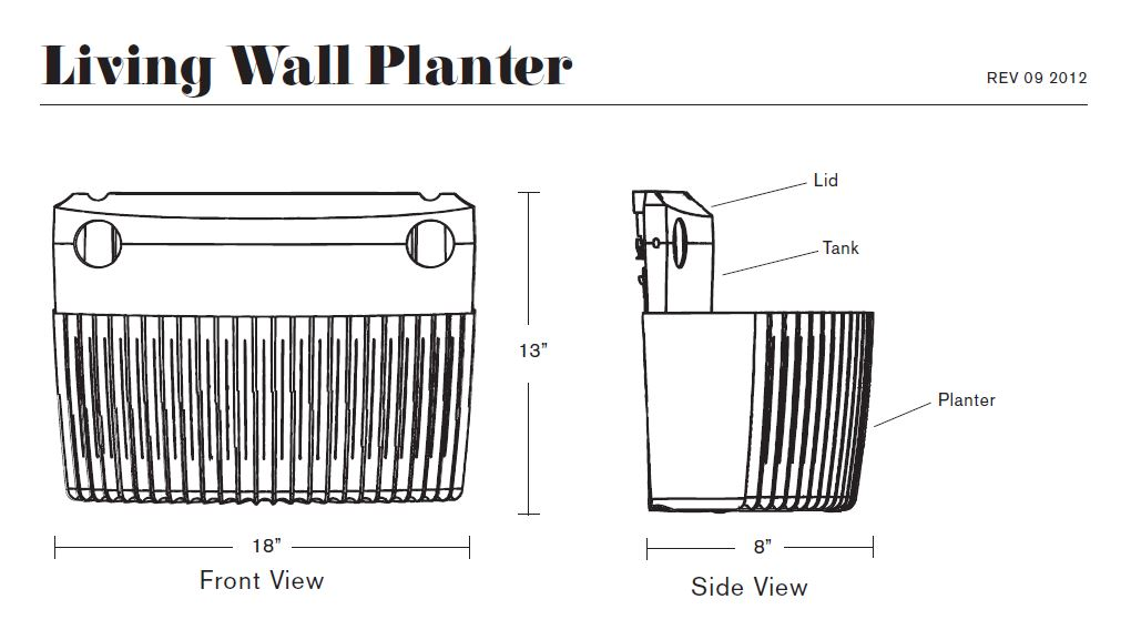 Living Wall Planter Specs
