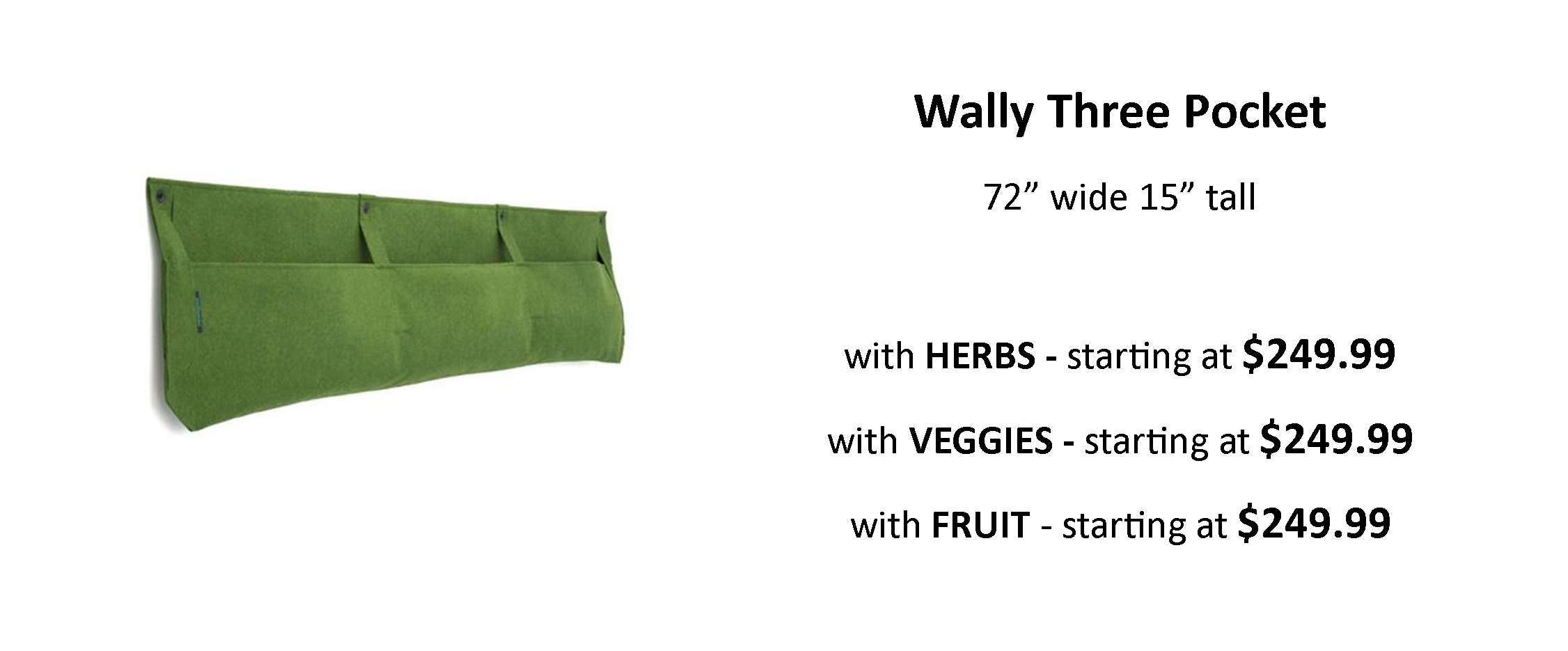 Wally Three Pocket Planter with Edible Plants
