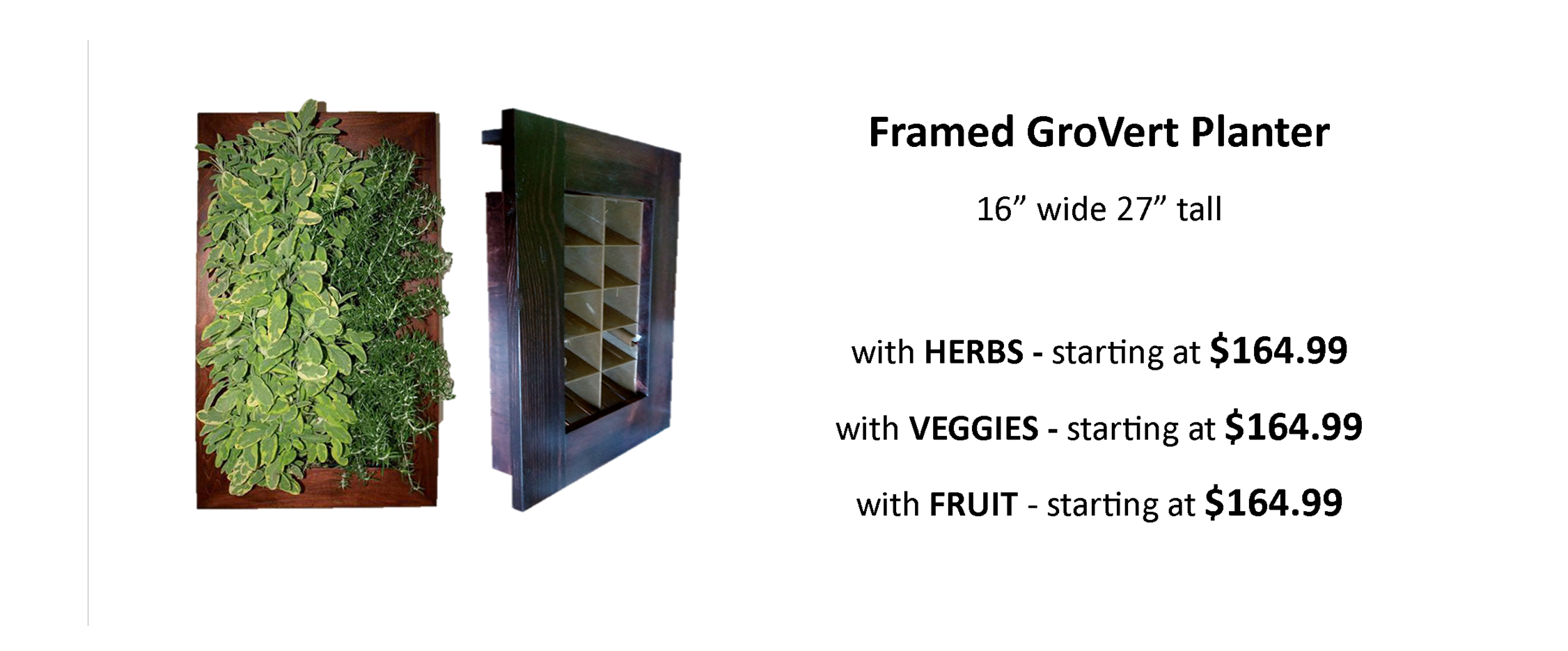 Indoor Living Wall Frame Watering System with Herbs Veggies or  Fruit