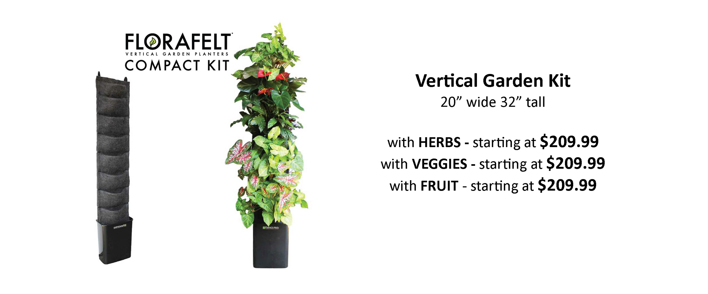 Automatically Water Vertical Garden Kit Pre Planted with Herbs, Veggies and Fruit