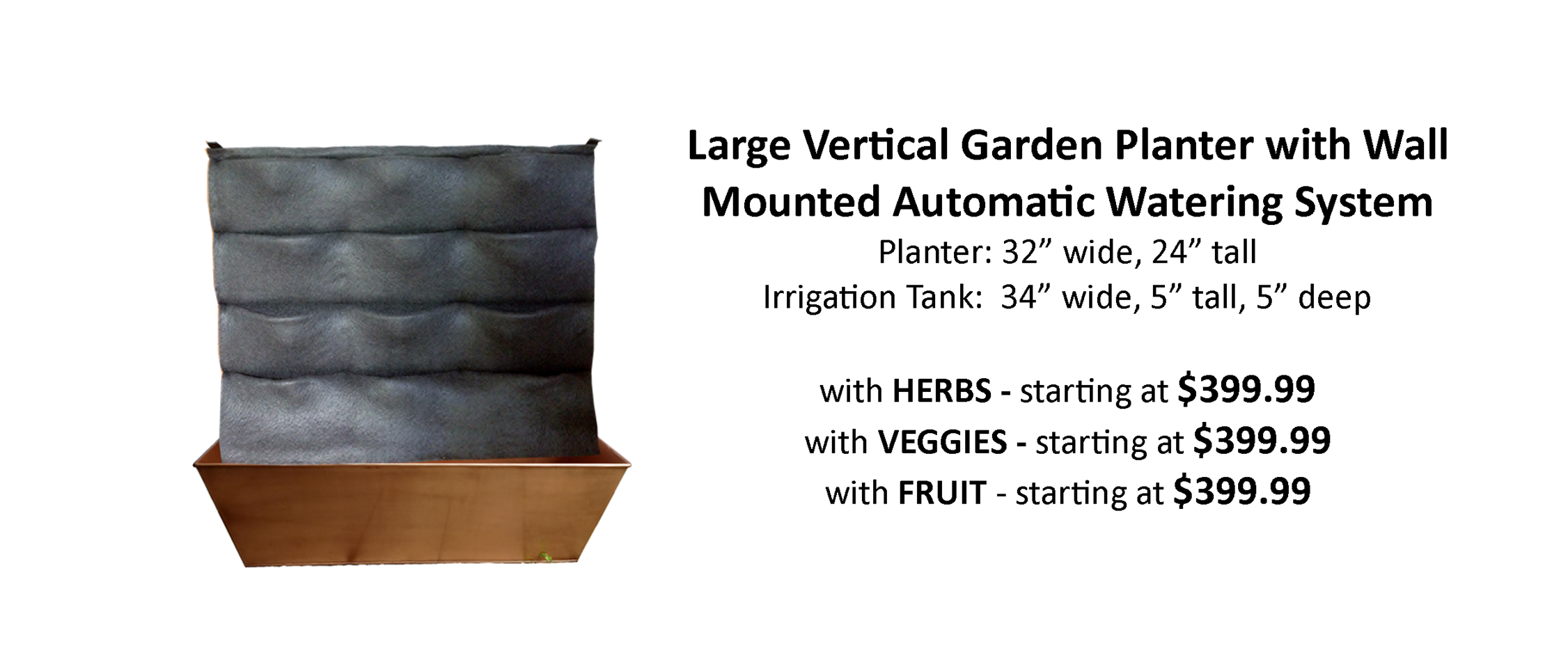 Automatically Watered Living Wall Kit Pre Planted with Herbs Veggies and Fruit