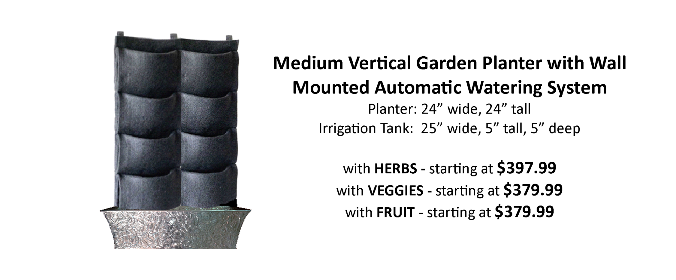 Automatically Watered Living Wall Kit Pre Planted with Herbs Vegetables and Fruit