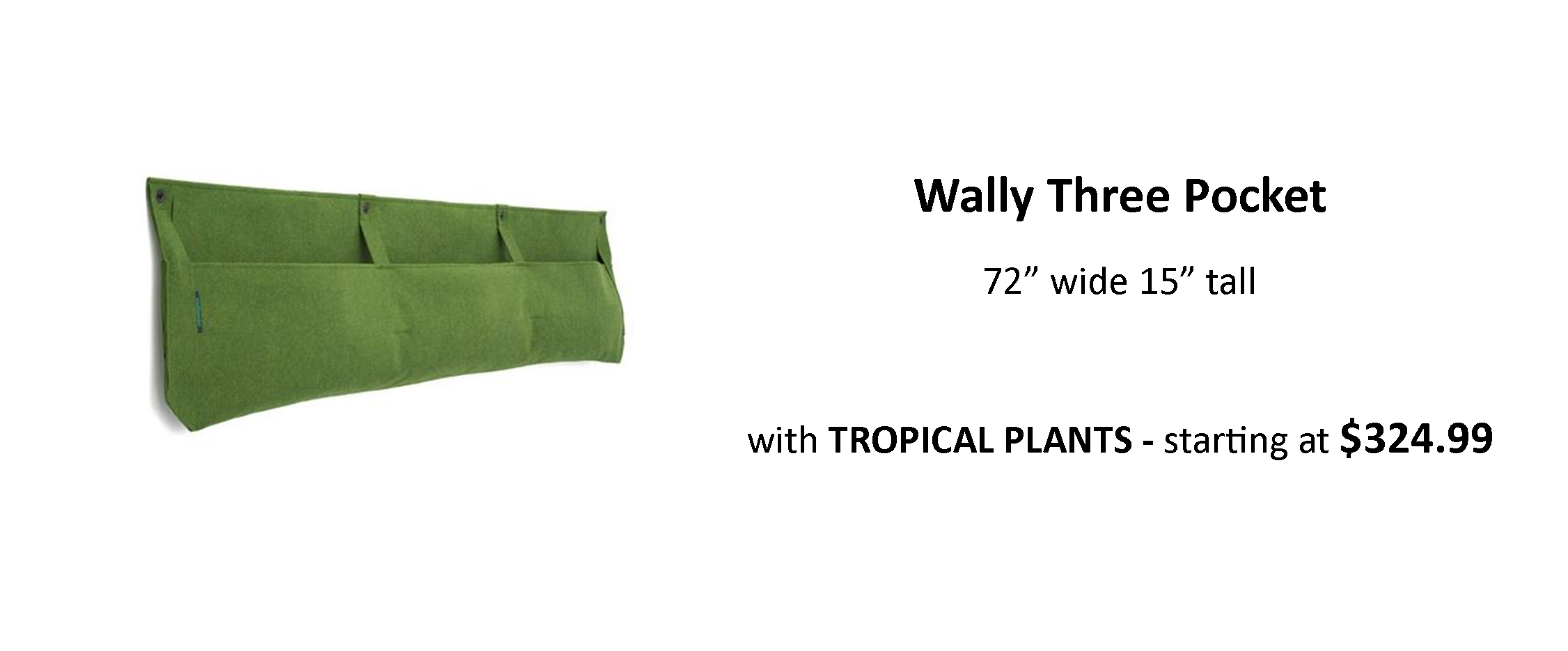 Vertical Garden Planter Woolly Pocket Wally Three Pre Planted with Tropical Plants for Indoor or Outdoor Use