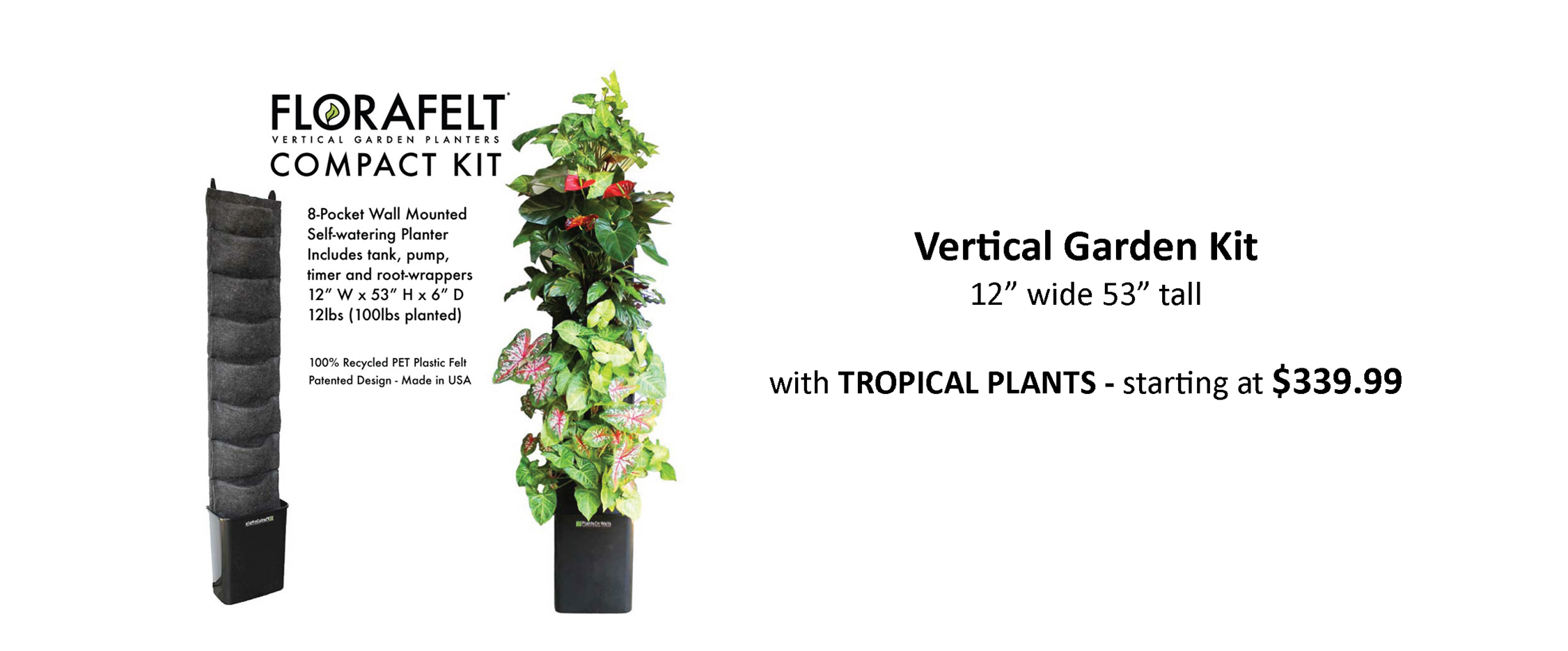 Living Wall Planter for Easy Vertical Gardens Pre Planted with Tropical Plants for Indoor or Outdoor Use With Automatic Irrigation System