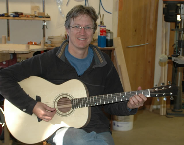 """Hey, it works!""  Chris Reckling playing his newly built guitar for the first time. For an in depth account of his time at Vermont Instruments School of Lutherie, check out  Chris' blog"