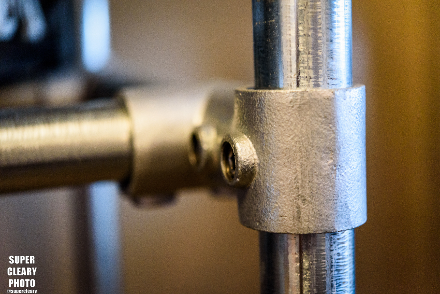 Each connection is locked in with these pipe clamps and a hex wrench. All heights can be adjusted however you like.
