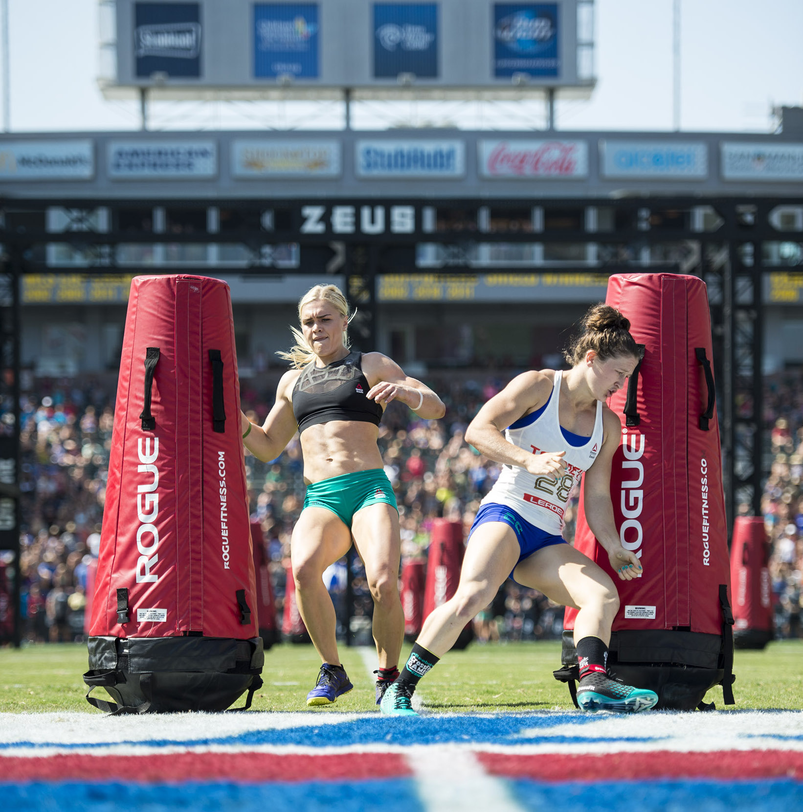 Katrin Davidsdottir and Tia-Clair Toomey at the 2016 CrossFit Games, Nikon 70-200, Nikon D4s --  Copyright CrossFit Inc, 2016, all rights reserved