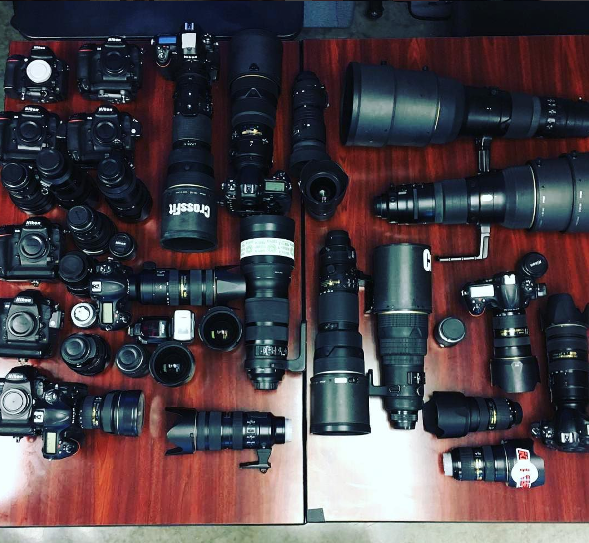 The full collection of Nikon gear at the 2016 CrossFit Games