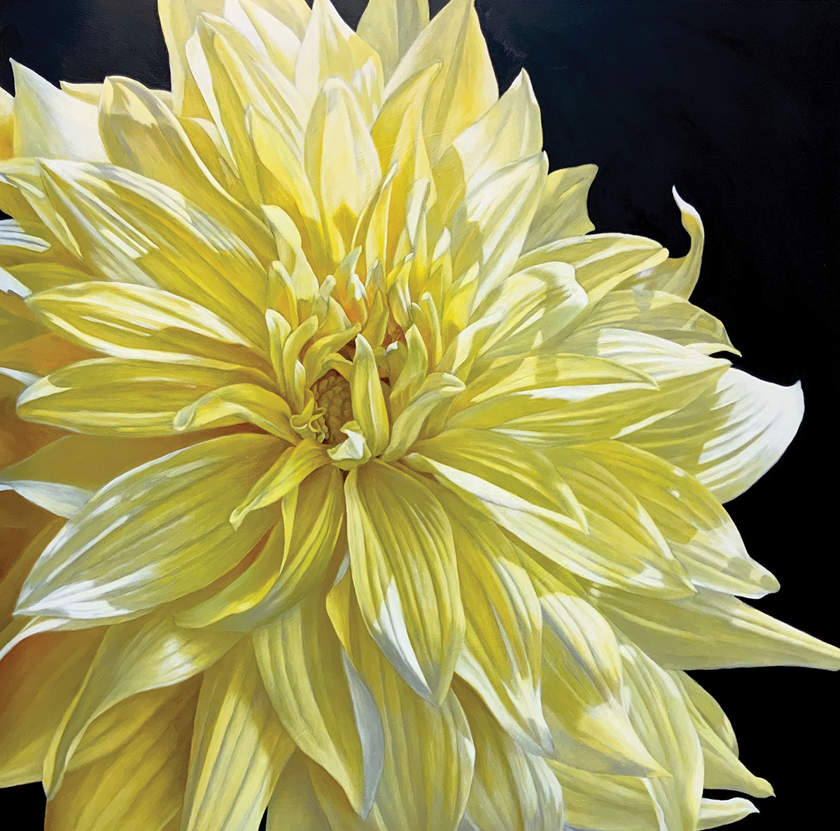 Remembrance: Yellow Dahlia and Purple Dahlia | Deanna Shaw | Oil on Wood Panels