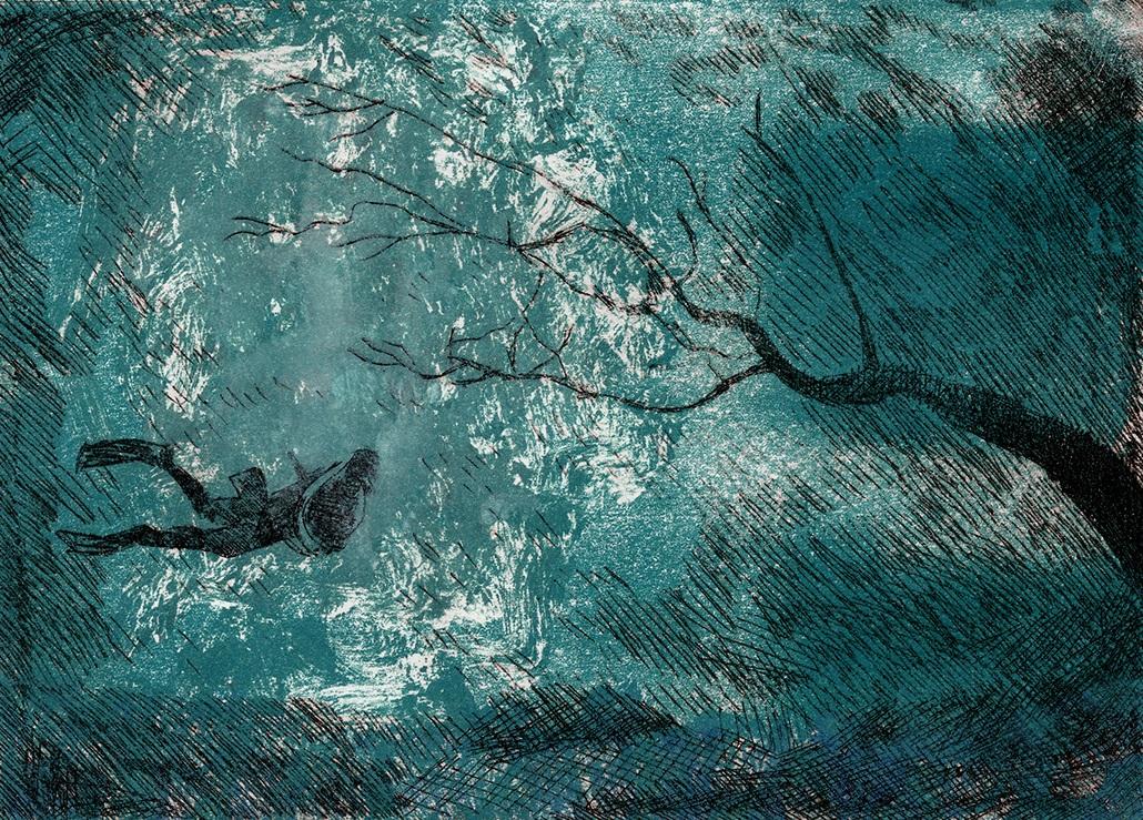 Underwater Dream   Krysta Brixery   Drypoint Etching over Monotype Print