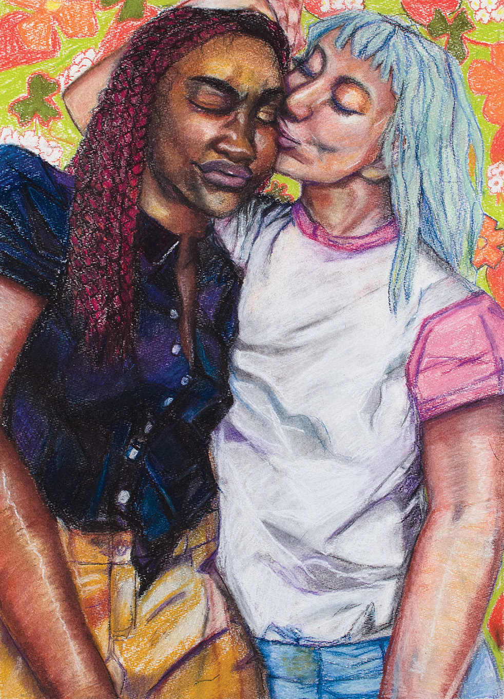 Sapphic Love | Stevie Hale | Charcoal and Pastel on Paper