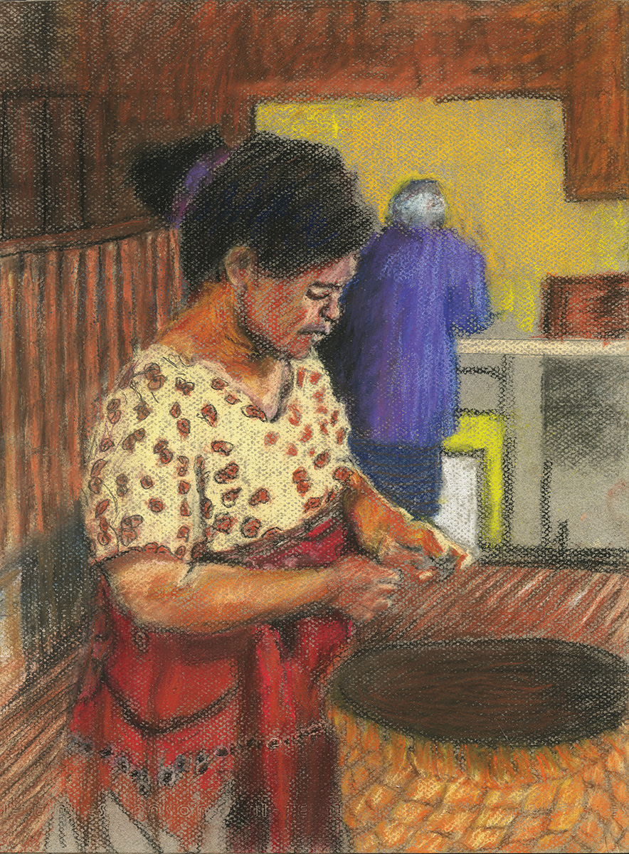 Cooking in the Kitchen | Don Andersen | Charcoal and Pastel on Paper