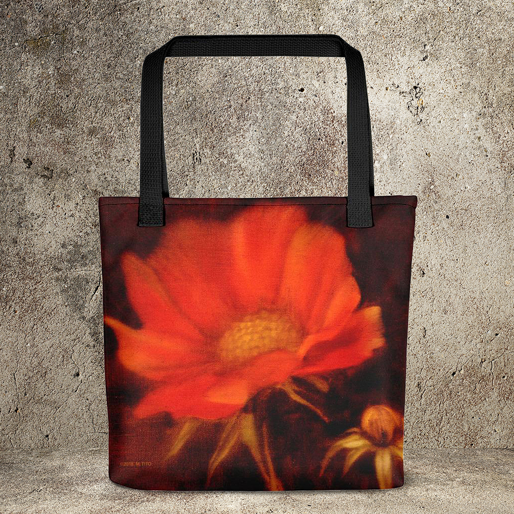 Poppies Oil Painting-Weather-Resistant Tote Bag : MARINA DI META