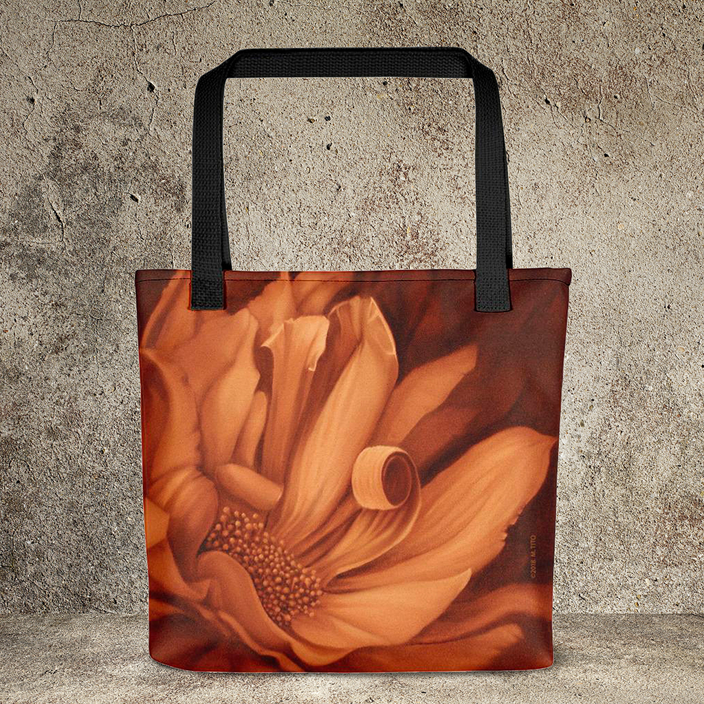 Flower Oil Painting-Weather-Resistant Tote Bag : MARINA DI META