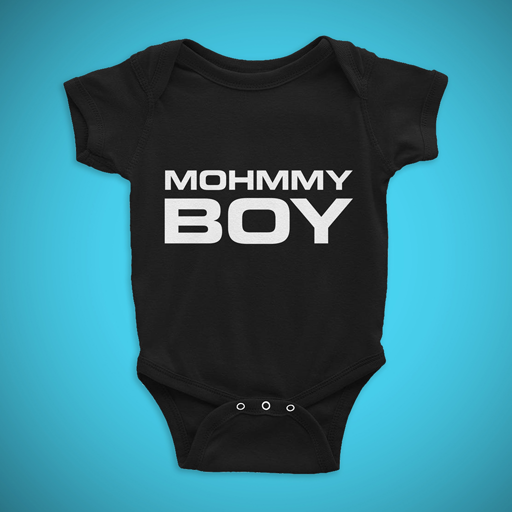 Funny Baby Apparel - Mohmmy Boy . Black Print . Infant Rip Snap Tee - Made By MOHMMY