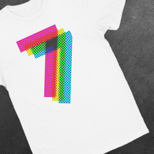 Number Seven Print Men's Fitted Crew-Neck T-Shirt