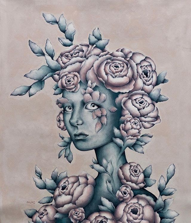 🌷Physis. Acrylic on canvas. 84cm x 100cm  #art #arte #acrylicpainting #newcontemporaryart #flowers #flower #physis #painting #eyes #blue #pedrojardim #pedrojardimart #popsurrealism