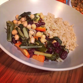 Rainbow greens with chickpeas, peppers and quinoa