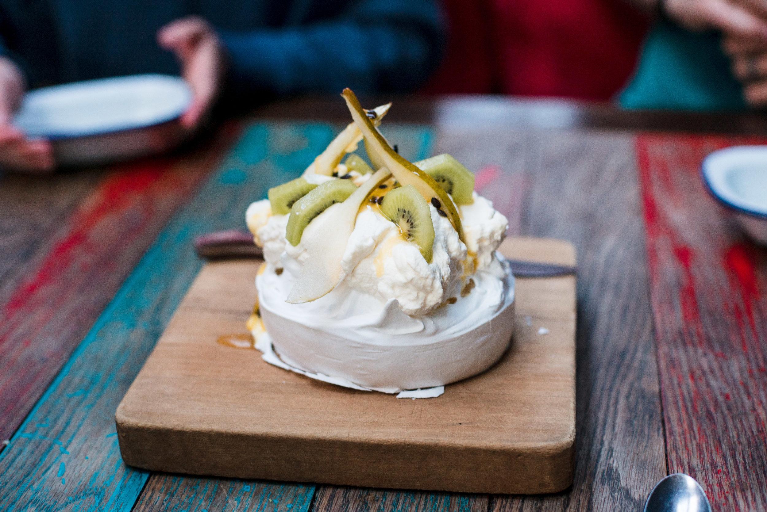 A Pavlova from Public Kitchen & Bar, a New Zealand dessert specialty