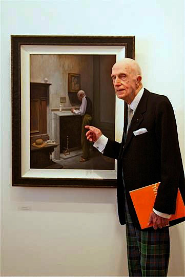 Jack Leslie and his portrait on display at the Royal Hibernian Academy