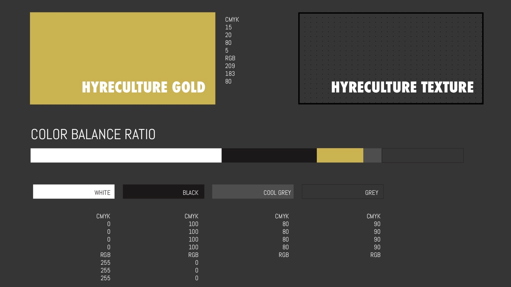 Thinking Color - Unlike any other hiring agency, Hyreculture's color palette was dedicated towards highlighting human in a concrete jungle. With mainly a muted color palette like a city, the gold represent the human element in all of us, the little piece that makes us gold.