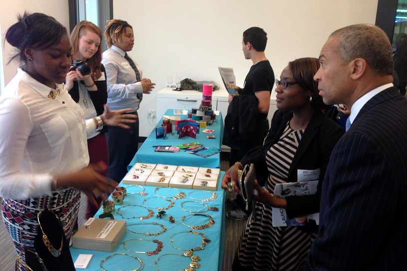 Governor Deval Patrick learns about BUILD student projects at Entrepalooza. Photo by Rebecca Strong, Tech Writer @ BostInno