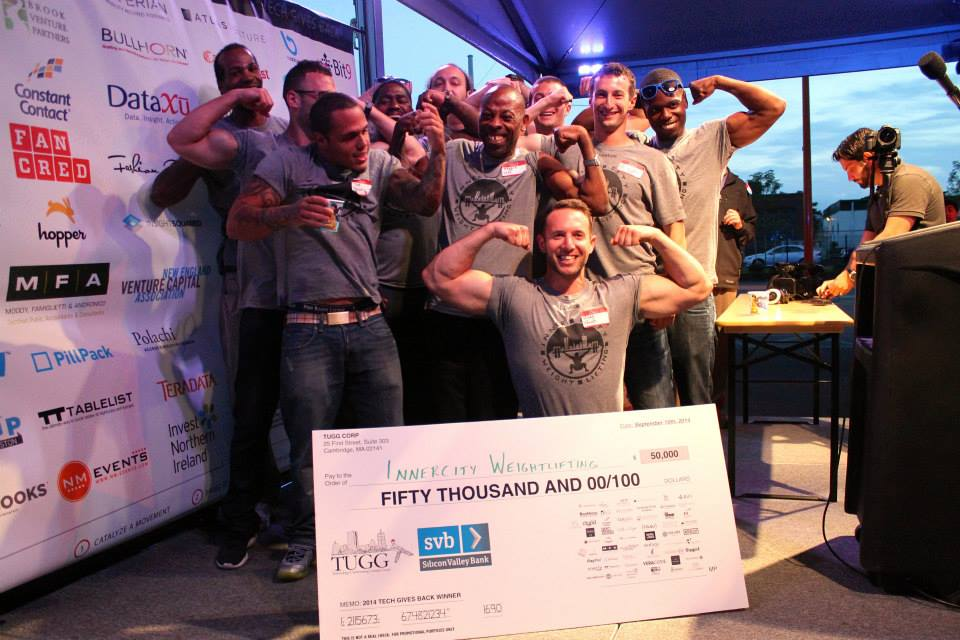 InnerCity Weightlifting celebrates their win for Returning Organization at Tech Gives Back 2014