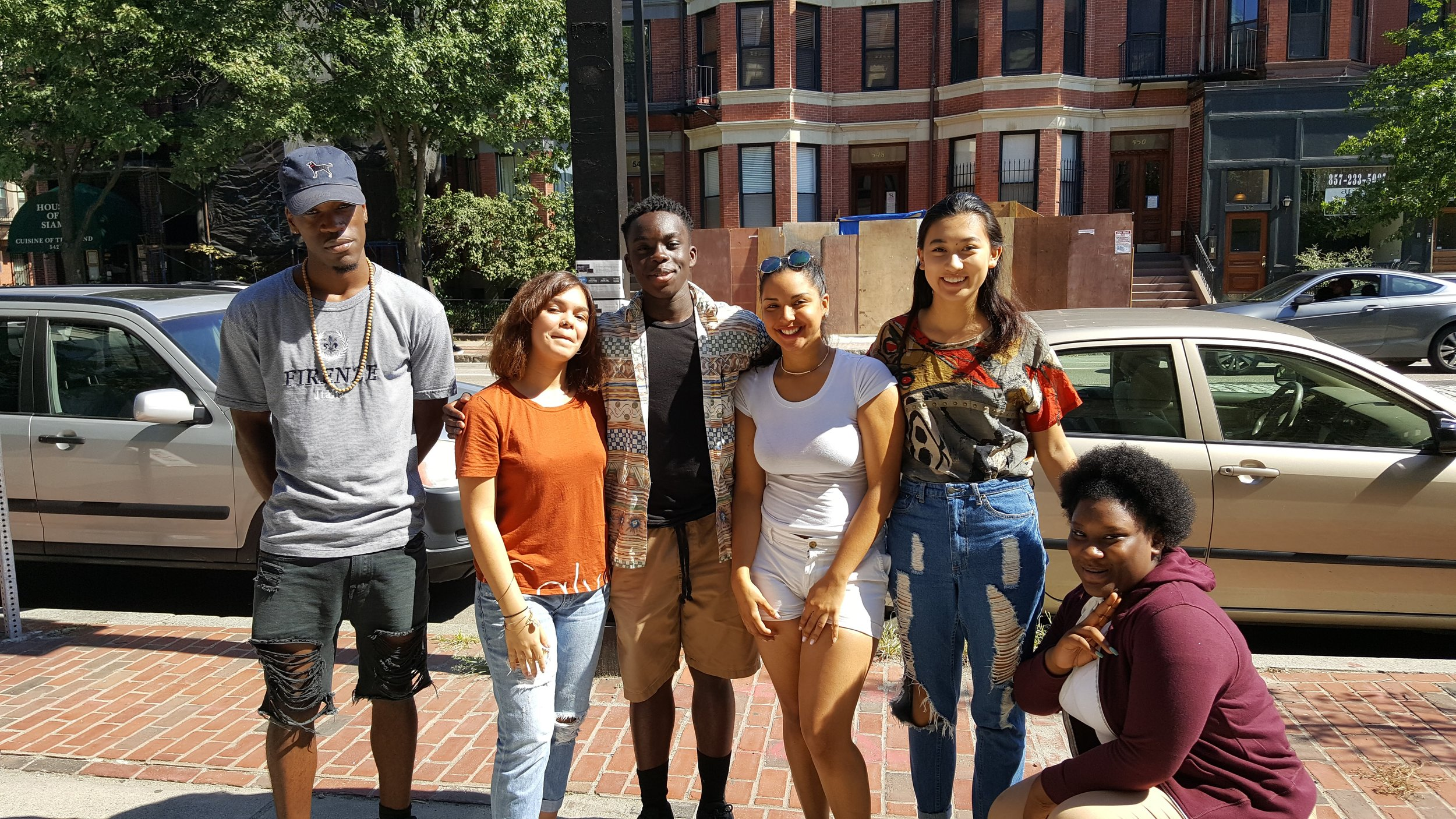 Members of the Youth Spoken Word Leaders Program (from left to right):  Malcolm OIiver (19, Allston), Victoria DelValle (16, Boston South End), Kofi Dadzie (17, Westborough), Michelle Garcia (17, Lynn), Athena Chu (16, Brighton), Andrine Pierresant (14, Cambridge)