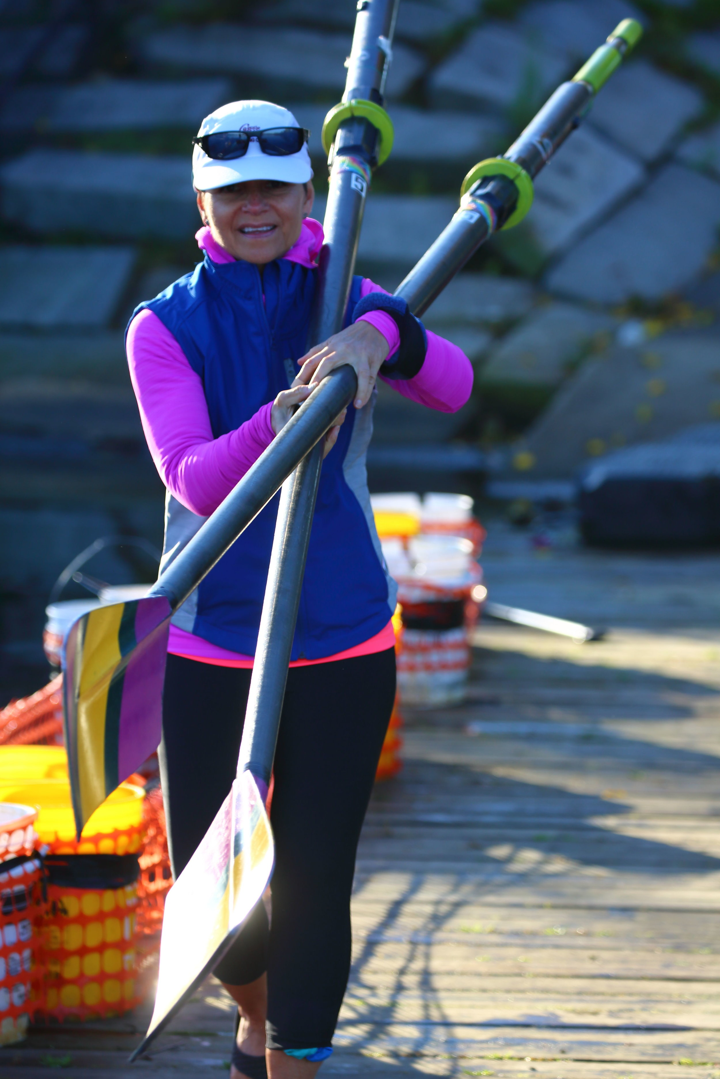 Morning Captain Laura Pedone...never one to not carry oars.