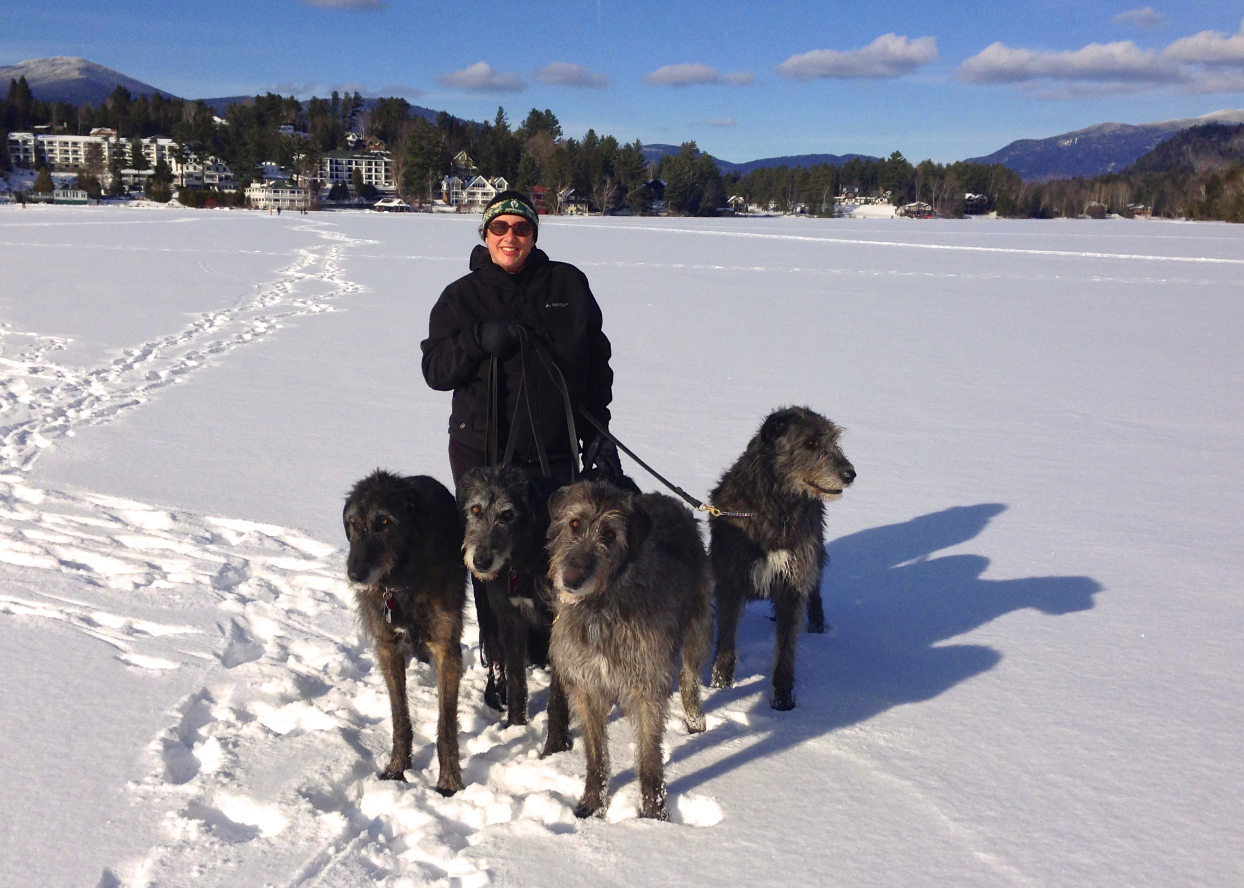 Chevonne, Kennedy, Dior and Declan winter walk on Mirror Lake, Lake Placid