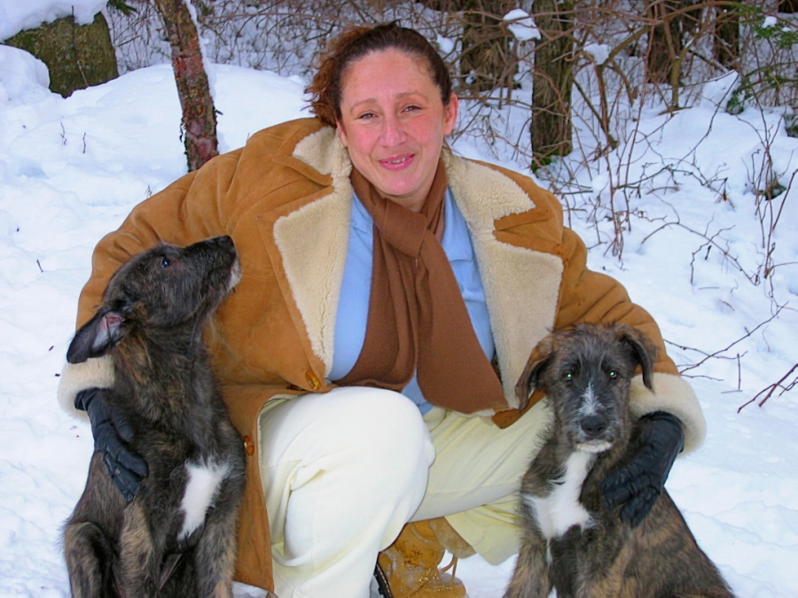 Lisa Dube Forman with 13-week Irish Wolfhound puppies