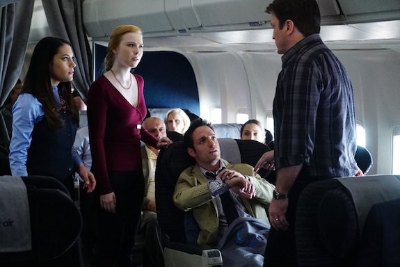 """CASTLE - """"In Plane Sight"""" - As Castle and Alexis travel to London, their routine flight turns deadly when the plane's Air Marshal is found murdered. With the help of Beckett on the ground, Castle and Alexis race against time to find the killer before he carries out his fateful plan, on """"Castle,"""" MONDAY, APRIL 27 (10:01-11:00 p.m., ET) on the ABC Television Network. (ABC/RichardCartwright) INBAR LAVI, MOLLY QUINN, BEN D. GOLDBERG, NATHAN FILLION - See more at: http://www.givememyremote.com/remote/2015/04/15/castle-in-plane-sight-photos/nggallery/image/138960_1380-jpg/#sthash.3YqrnTdO.dpuf"""
